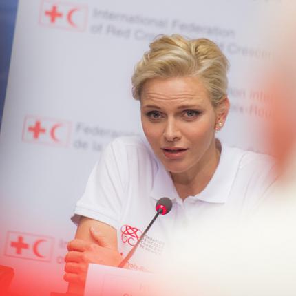 Déplacement de S.A.S. la Princesse Charlène à Genève à l'occasion de la Journée Mondiale des premier secours