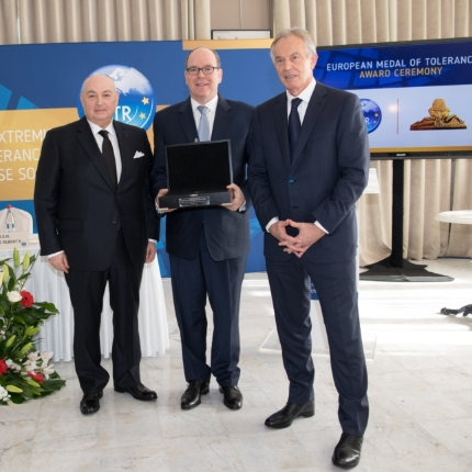 H.S.H. Prince Albert II awarded the European Medal of Tolerance