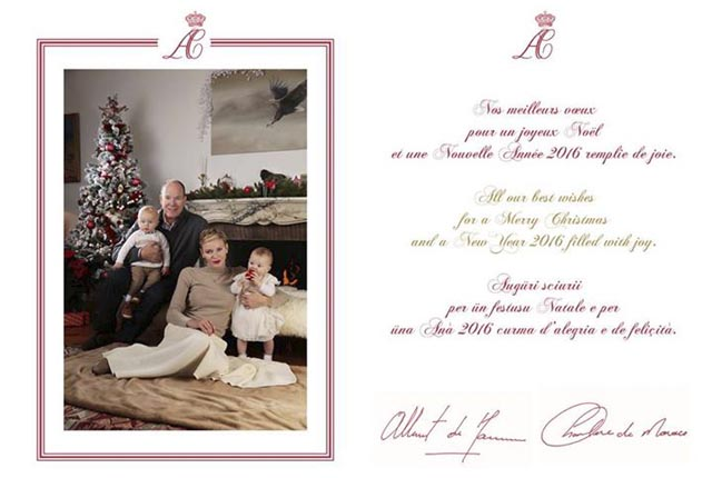 Wishes from TT.HH.SS. Prince Albert and Princess Charlene as well as their children