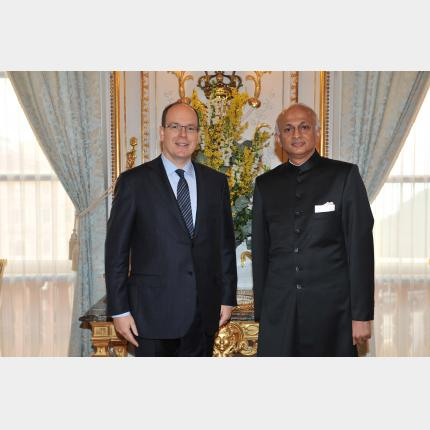 Presentation of Credentials by H.E. Mr Ranjan MATHAI, Ambassador Extraordinary and Plenipotentiary of The Republic of India to the Principality of Monaco