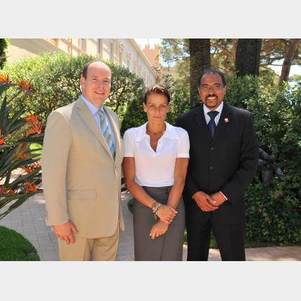 HSH Prince Albert II in audience with UNAIDS Executive Director Dr Michel Sidibe