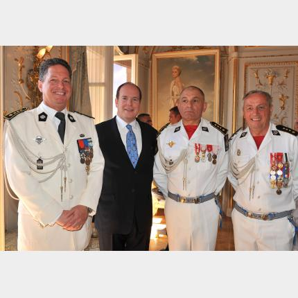 Military & civil defence forces change of command ceremony in the Prince's Palace Cour d'Honneur