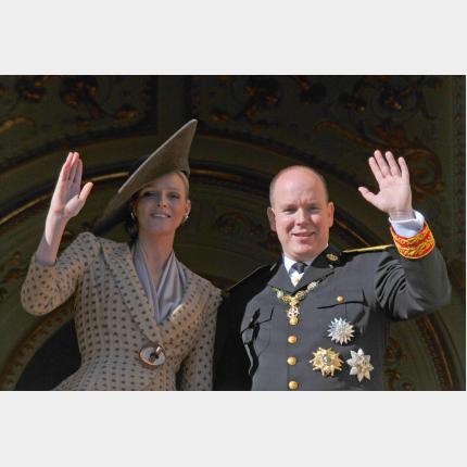 Le Prince et  Melle Charlène Wittstock lors de la Fête nationale, le 19 novembre 2010.