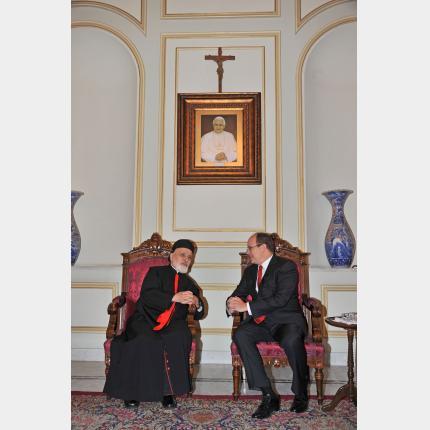 Entretien  de S.A.S. le Prince Albert II avec le Patriarche d'Antioche et de tout l'Orient, le Cardinal Mar Nasrallah Boutros Sfeir