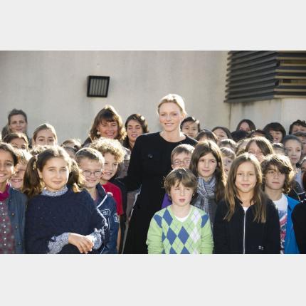 S.A.S. la Princesse Charlène de Monaco à la rencontre des jeunes de la Principauté et du corps enseignant