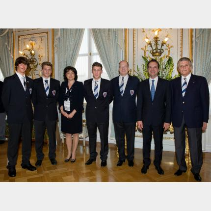 Reception in honour of the three Monegasque athletes who participed in the first Winter Youth Games