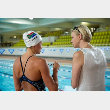 HSH Princess Charlene invited the South African swimmers selected for the London Olympics to train in the Principality.