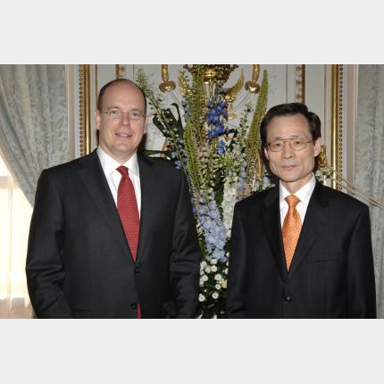 Remise des Lettres de créance de S.E.M CHO Il-hwan, Ambassadeur extraordinaire et plénipotentiaire de la République de Corée auprès de la Principauté de Monaco