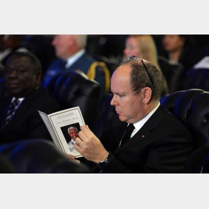 The Sovereign Prince attended the funeral ceremony in honour of Nelson Mandela yesterday in Qunu, South Africa