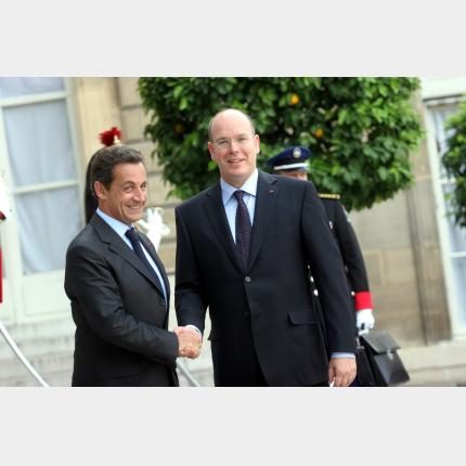 Official meeting between H.S.H. Prince Albert II and Nicolas Sarkozy, President of the Republic of France